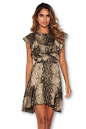 AX Paris Women's Snake Print Frill Detail Dress(Khaki, Size:6)