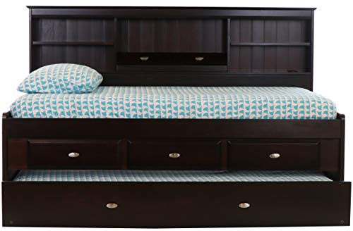 Discovery World Furniture Twin Bookcase Daybed with 3 Drawers and Twin Trundle