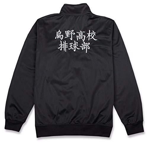 hengGuKeJiYo Uniforme de Karasuno High School Voleibol Club, Haikyuu Disfraces Abrigo Haikyuu Negro Ropa Deportiva Cosplay Chaqueta (Jacket, M)