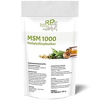 320 Vegane Tabletten MSM 1000 Methylsulfonylmethan, 2000mg Hochdosiert (Tagesdosis), 99,9% Rein, Organisches Schwefel-Pulver in extrem guter Pharmaqualität, Nahrungsergänzungsmittel aus Deutschland