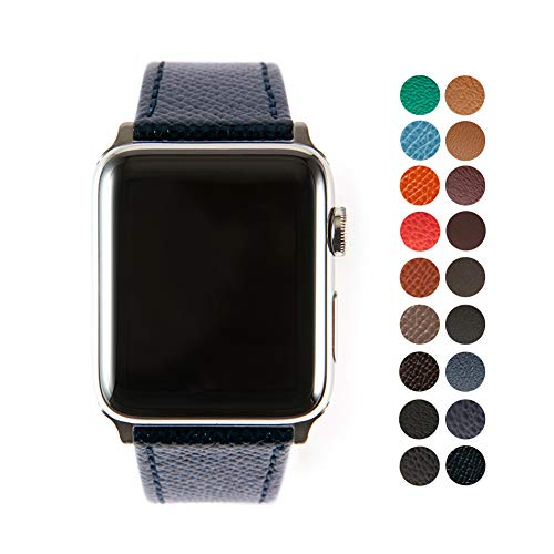 Compatible Apple Watch Band, Premium Epsom Leather Strap with Stainless Steel Buckle for All 42mm Apple Watch Models by SONAMU New York, Black Navy