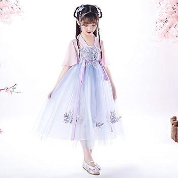 JJAIR Girls  Vintage Chinese Costume Hanfu Halloween Princess Dress Cosplay Costume Cotton Floral Skirt Han Dynasty Dress Performance Costume for2-10T,120