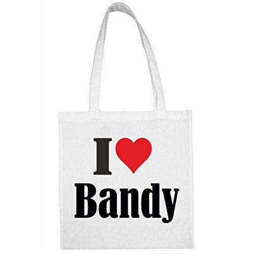 Tasche I Love Bandy Größe 38x42 Farbe Weiss Druck Schwarz