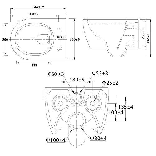 NEG Hänge-WC Uno11RK (Tiefspüler/randlos/kurz) Toilette ohne Unterspülrand mit Duroplast Soft-Close-Deckel und Nano-Beschichtung - 7