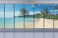 Amxxy 10x8ftビニール海景写真の背景フランスの窓海のビーチヤシの木自然の風景の背景新生児の女の子大人の肖像画の壁紙の装飾写真スタジオの小道具