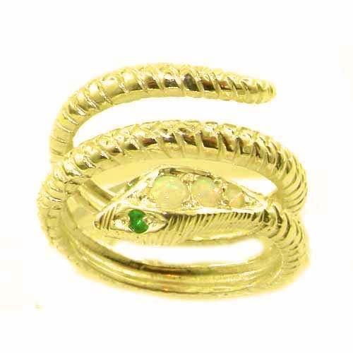 Herrlicher Schlangenring solide 9 Karat Gold Gelbgold Opal & Smaragd - Verfügbare Größen : 50 bis 64