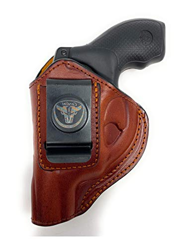 Cardini Leather USA - IWB Ultra Soft Leather Holster - Concealed Carry - for Ruger LCR, LCRx and Other Snub Nose Revolvers - Inside The Waistband with Clip (Brown, Right Hand (Inside The Waistband))