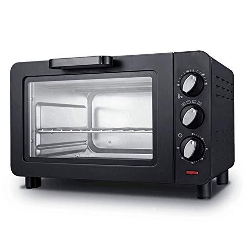 Mini horno y parrilla, mini horno eléctrico negro con temporizador, pequeño horno...