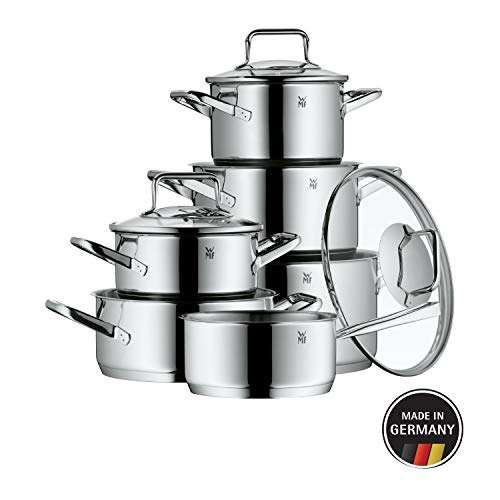 WMF Pot Set 6-Piece Trend Made in Germany Hollow Handles Glass Lid Cromargan® Stainless Steel Polished Suitable for Induction Hobs Dishwasher-Safe, Silver