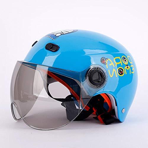 Casco de Moto niño Harley Casco Coche eléctrico niño Bicicleta Casco Protector Gorra, Azul