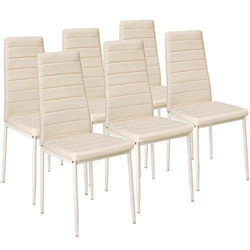 TecTake Set di sedie per sala da pranzo 41x45x98,5cm - disponibile in diversi colori e quantità – (6x Beige | No. 401852)