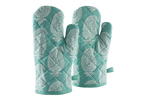 Solimo 100% Cotton Padded Oven Gloves Paisley, (Pack of 2, Blue)