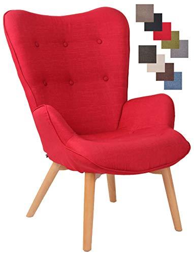 CLP Lounger Durham Mit Stoffbezug I Ohrensessel Mit Buchenholz Gestell I Loungesessel Mit Max. Belastbarkeit Bis 136 kg, Farbe:rot