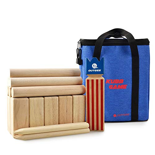 OUTOSS Kubb Yard Game Set with Classic Printing and Durable Carrying Bag