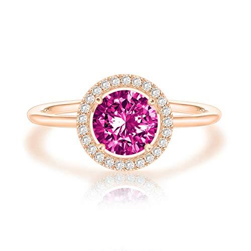 Swarovski Crystal 14K Rose Gold Plated Birthstone Rings   Rose Gold Rings for Women   Amethyst Ring Amethyst Pink Sapphire Ring