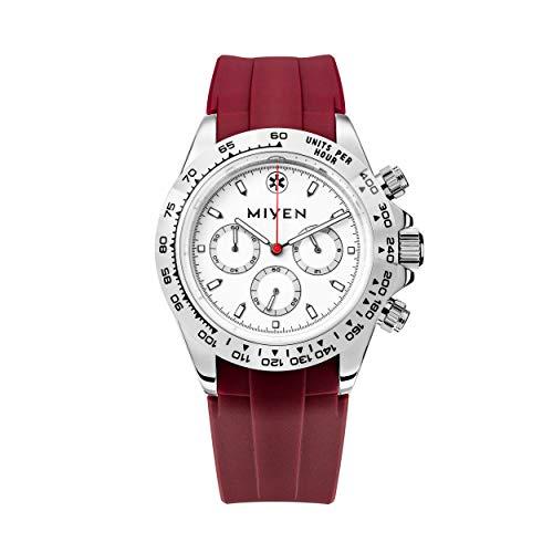 MIYEN MUNICH - Correa de caucho rojo Lemans Silver 1140-23-5, cronógrafo, reloj de hombre con cristal de zafiro, función taquímetro, 10 ATM.