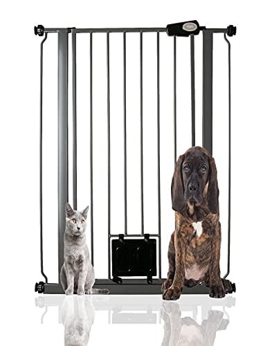 Bettacare Haustiergitter mit verschließbarer Katzenklappe, 75 cm - 84 cm, Schiefergrau