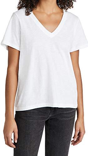 Madewell Women's Whisper Cotton V Neck Tee, Optic White, Large