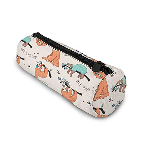 Pencil Case with Zipper, Take Your Time Sloth Middle Capacity Pen Case Durable Pen Bag Office Stationery Bag Portable Cosmetic Bag for Girls Boys and Adults