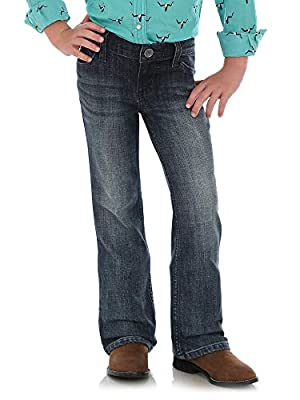 Wrangler Girls' Big Stretch Boot Cut Jean, Mid Blue, 8 Slim