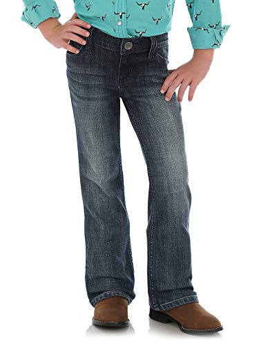 Wrangler Girls' Little Stretch Boot Cut Jean, Mid Blue, 5 Slim