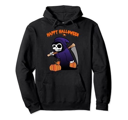 Segador Muerte Esqueleto Calabaza Disfraz de Halloween Sudadera con Capucha