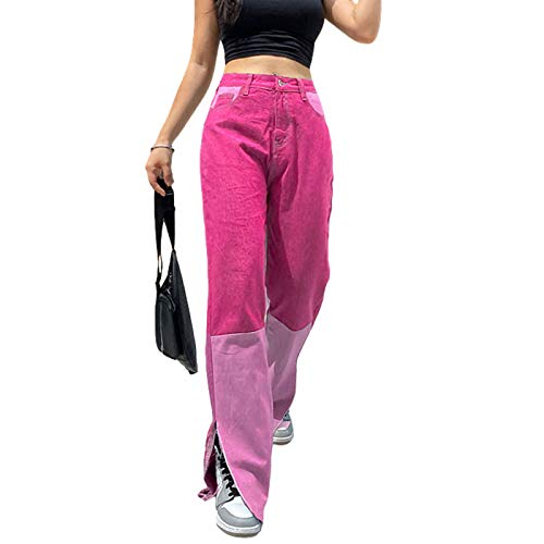 Women Color Block Patch Jeans High Waisted Straight Leg Stretch Baggy Patchwork Y2K Fashion Denim Trousers (Pink1, M)