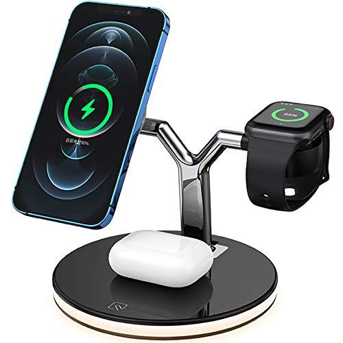 3 en 1 Asiento de carga inalámbrico Magnetic Fast, Smart LED Light, Adecuado para iPhone 12 / Mini/Pro/Pro Max Magsafe Cartel inalámbrico, AirPods Pro/AirPods 2 / Iwatch Series