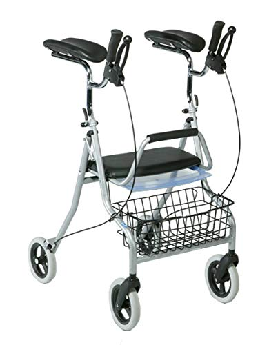 FabaCare Arthritis Rollator 276, faltbarer Arthritisrollator, höhenverstellbare Unterarmauflagen, Korb, Tablett, bis 120 kg