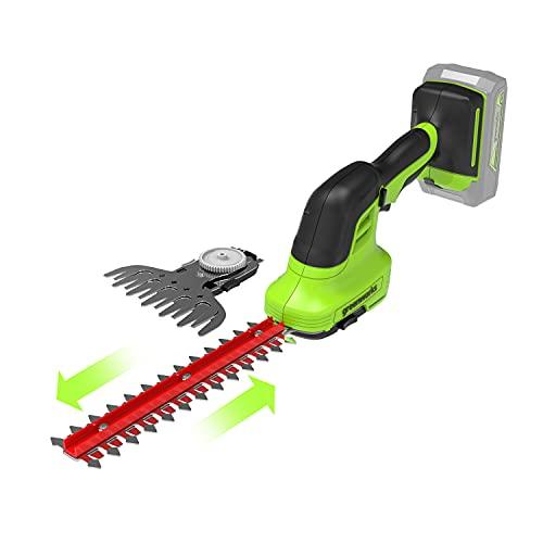 Greenworks 2in1 tijeras de batería para arbustos y césped G24SHT,Li-Ion 24V 2400 SPM 8mm espesor y 20 cm corte ideal para cortasetos cortadora de césped de 120 mm, no incluye batería ni cargador