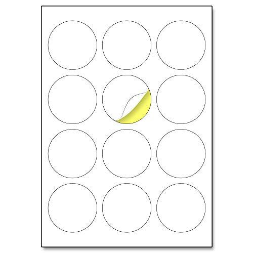 60mm, 25 Blatt, A4 Runde Aufkleber Etiketten Selbstklebend Bedruckbar - 12 Stück pro Blatt
