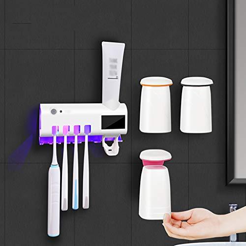 LYNNNDRE Automatische tandpastadispenser set van 5 stuks voor de badkamer, wandmontage elektrische tandenborstel sanitizer houder voor tandenborstel, badkamer