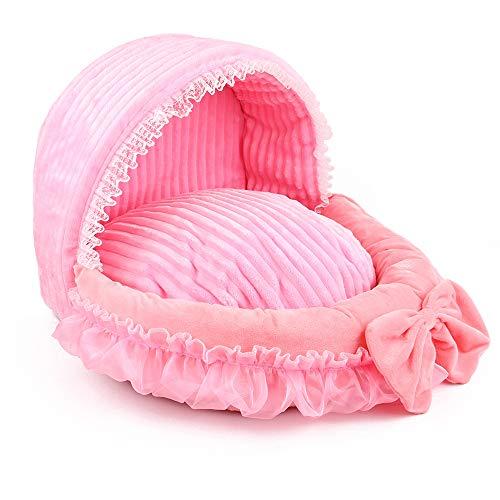 Vivi Bear kussen voor honden en katten, comfortabel, wasbaar, warm, 4 seizoenen, universele mand voor katten en kleine honden, L(59 * 40 * 44), Deep pink