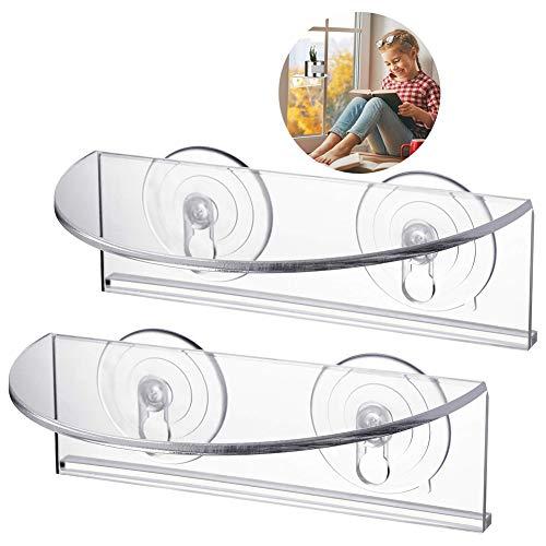 ADSIKOOJF Ledge zuignap venster plank Plant plank voor tuin badkamer Organizer plank verwijderbare muur gemonteerde opslag plank rack