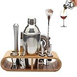 LTJX Juego de coctelera Coctelera de 750 ml Juego de Herramientas de Barra de Acero Inoxidable Juego de Bartender con Soporte de exhibición