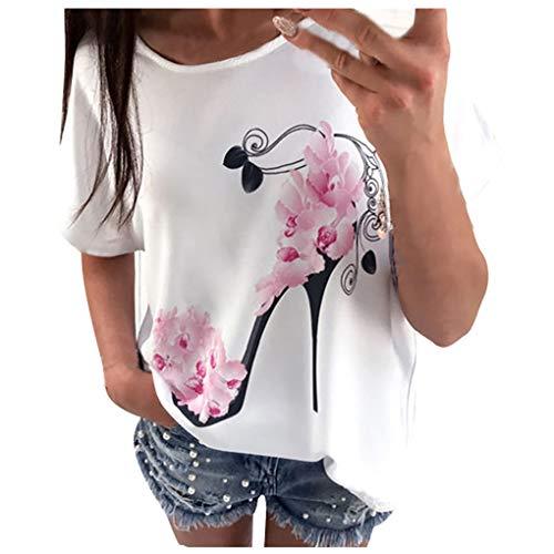 T-shirt Oberteile für Damen,Dorical Frauen Kurzarm Blumen Pumps Gedruckt Tops Strand Beiläufige Lose Bluse Top T-Shirt lose Tee 80% Rabatt(Weiß-1,EU-42/CN-XL)