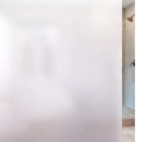 rabbitgoo Fensterfolie Blickdicht Sichtschutzfolie Selbsthaftend Milchglasfolie Anti-UV Klebefolie Statisch Haftende Kleberlos Folie Für Büro Badzimmer 60 x 200 cm Weiß Matt