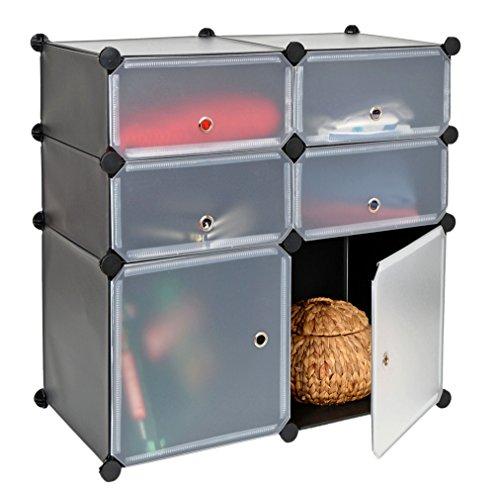 ts-ideen GmbH Armadio ad innesto, scaffale, armadietto a Muro per corridoio Bagno con sportelli Trasparenti. Color Nero