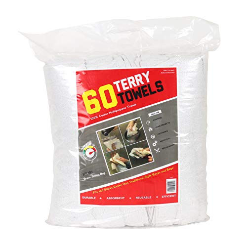 Arkwright Terry Towels Grade Rags 60 Pack (14 x 17 in, White)