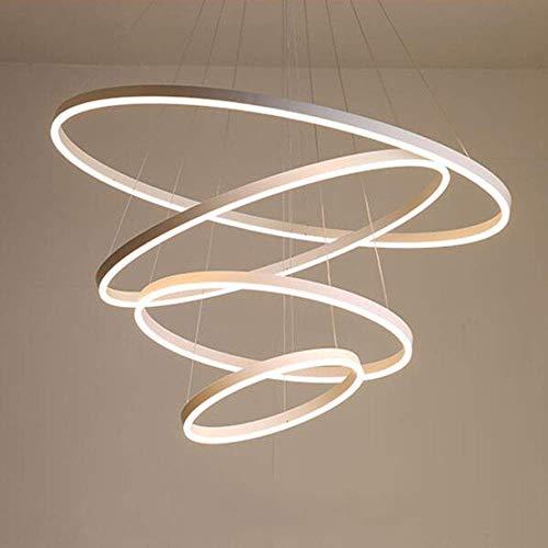 127W LED Dimmbar Hängeleuchte Modern Rund 4-Ring Design Kronleuchter Weiß Aluminium Acryl Pendelleuchte Höhenverstellbar Deckenleuchte Esszimmer Büro Eßtisch Wendeltreppe (Weiß 20+40+60+80CM)