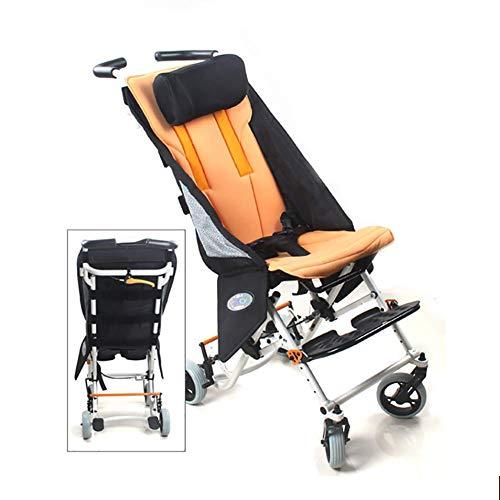 BD.Y Folding Kids Pediatric Wheelchair, 12' Wide Seat, Aluminum Lightweight Children's Trolley with Headrest