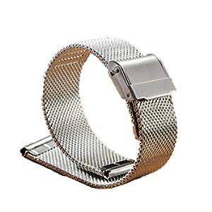 Mnoble Cinturino Con in Maglia di Acciaio Inossidabile Linea fibbia Accessori Cinturino in Metallo per 18mm / 20mm / 22mm (18MM, Argento)