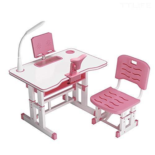 con Piano del Tavolo Inclinato,Adatto ai Bambini per Imparare e disegnare pu/ò Essere utilizzato nelle scuole e nelle Famiglie papasbox Set scrivania per Bambini Regolabile in Altezza Blu