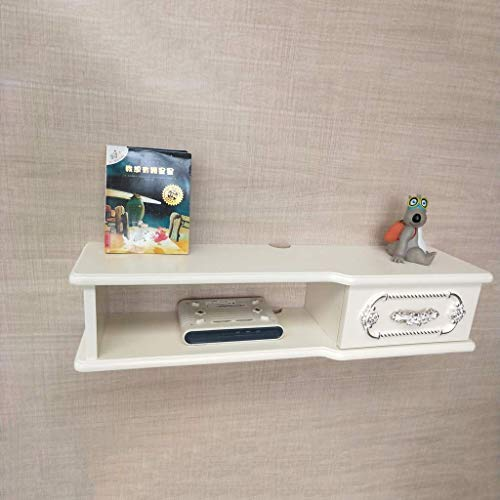 HEWEI Drijvende Plank Wandmontage TV Kast TV Plank met Lade Wandplank TV Achtergrond Wanddecoratie Plank Multimedia Console Multifunctionele Opbergkast (Kleur: Wit Maat : 100CM) 100cm-ivory White