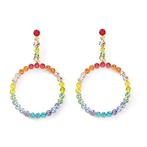 NaisiCore Pendientes de Diamante de la Manera 1pair con los Regalos Coloridos Pendientes Redondo Degradado de Cristal para Las Mujeres Colorido Presente del día de San Valentín Pendientes