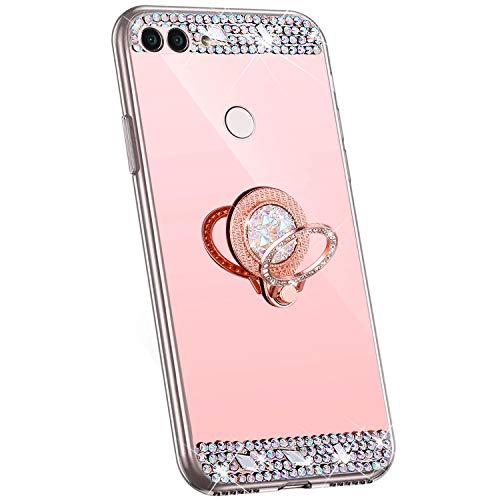 Jinghuash Kompatibel mit Huawei P Smart Hülle Handyhülle Spiegel mit Runde Ring Ständer Glänzend Kristall Glitzer Diamant Strass Dünn Weiche TPU Silikon Handyhülle,Rotgold