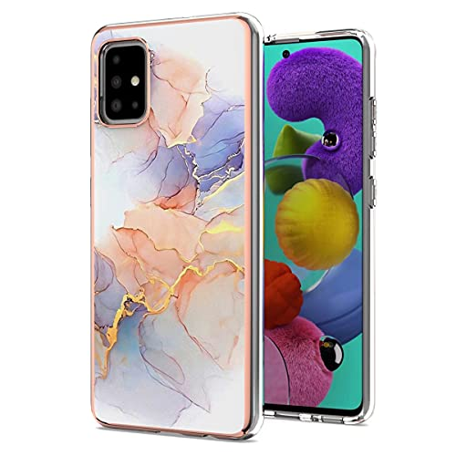 Funda para Samsung Galaxy A51 con Protector de Pantalla & Anillo Soporte Móvil, Carcasa TPU Suave Silicona Ultra Delgado Case Cover Protectora - Mármol Blanco/Púrpura