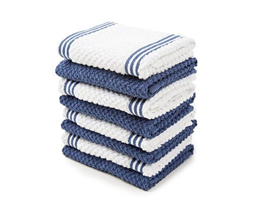 Sticky Toffee Cotton Terry Kitchen Dishcloth Towels, 8 Pack, 12 in x 12 in, Dark Blue Stripe