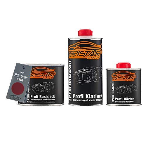 TRISTARcolor Autolack Set Dose spritzfertig für VW/Volkswagen 9959 Hotchilirot Perl/Hot Chili Red Perl Basislack + 2K Klarlack 1,25L