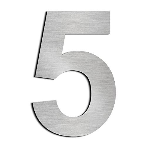 Großes gebürstetes Hausnummer 5 Fünf -254mm 10in-gemacht vom festen Edelstahl 304, sich hin- und herbewegendes Aussehen, einfach zu installieren